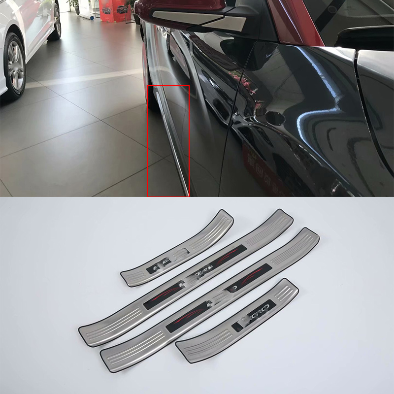 Car body kits Scuff Plate Stainless Steel Door Sills Pedal Sticker For HYUNDAI ENCINO/KONA
