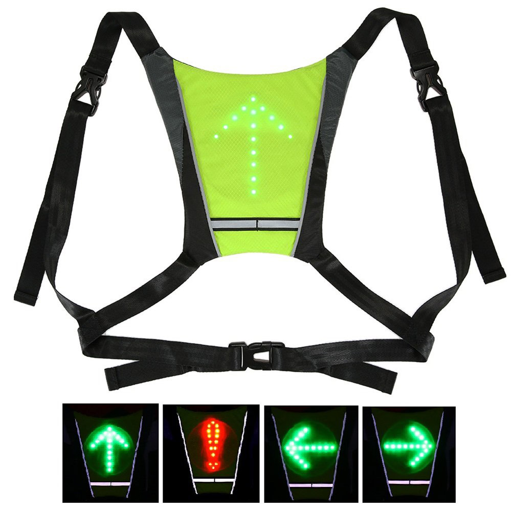 Special Section Led Wireless Cycling Vest Safety Led Turn Signal Light Bike Bag Safety Turn Signal Light Vest Bicycle Reflective Warning Vests Bicycle Accessories Cycling