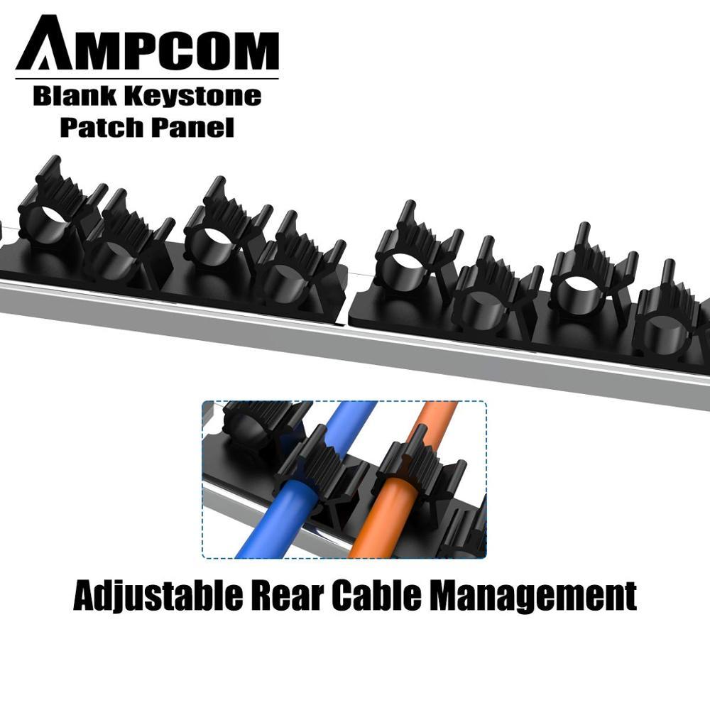AMPCOM 24-Порты и разъёмы пустой Keystone патч Панель, 1U STP/UTP, 19-дюймовую стойку Настенный кронштейн для телевизора с сзади кабель Управление Панель, ...
