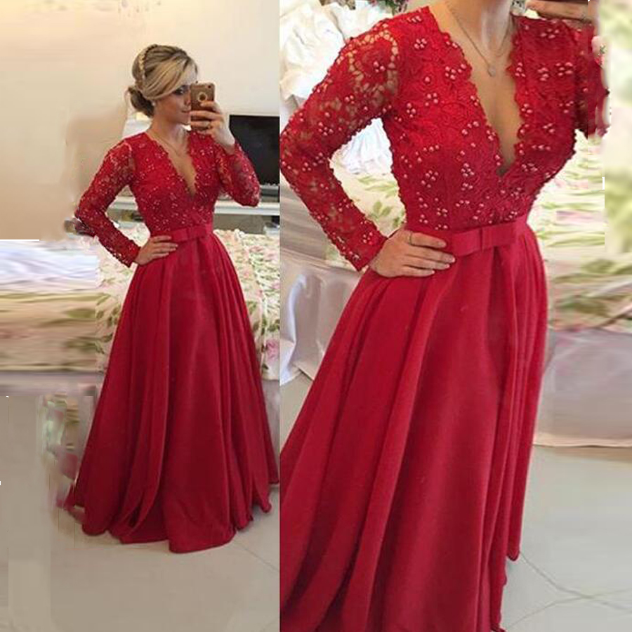 Gorgeous Lace V-Neck Long Sleeves A-Line Evening   Dresses   with Beads Bow Belt   Prom     Dress   Bridal Party   Dress   Formal Occasion   Dress