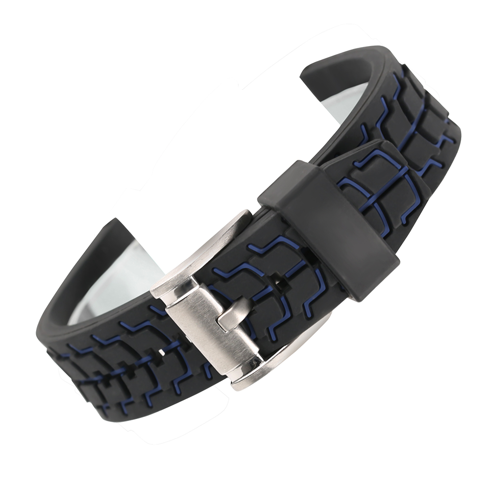 Watch Band 20/22/24mm High Quality Soft Rubber Silicone Replacement Sport Strap Pin Buckle Clasp for Male Gift 22 24mm silicone pin buckle wristwatch band mens womens watch strap high quality jd0108