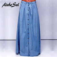 Summer 2016 Women Long Denim Skirt Femme Casual Loose High Waisted Single Breasted Maxi Jean Skirt