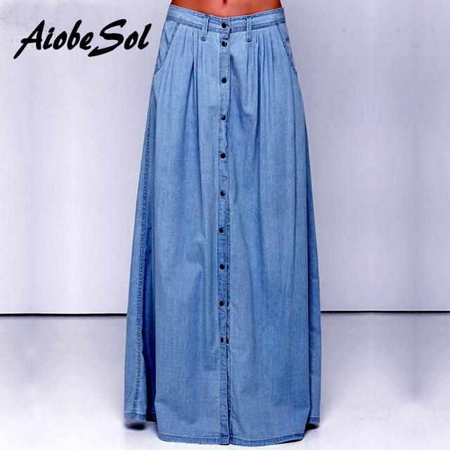 fdf4748bcdd Summer 2016 Women Long Denim Skirt Femme Casual Loose High Waisted Single  Breasted Maxi Jean Skirt Saias Feminina 3XL