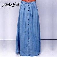 Summer 2016 Women Long Denim Skirt Femme Casual Loose High Waisted Single Breasted Maxi Jean Skirt