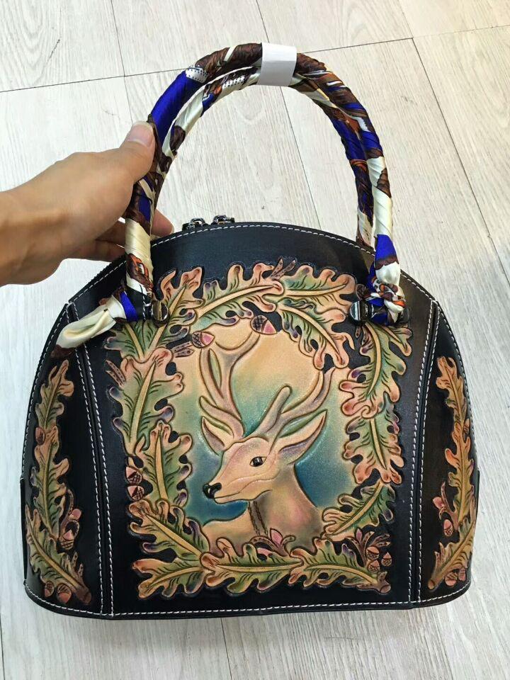 new fashion designer 2017 women leather handbags italy vegetable tanned genuine leather handbag female purse funky fashion designer