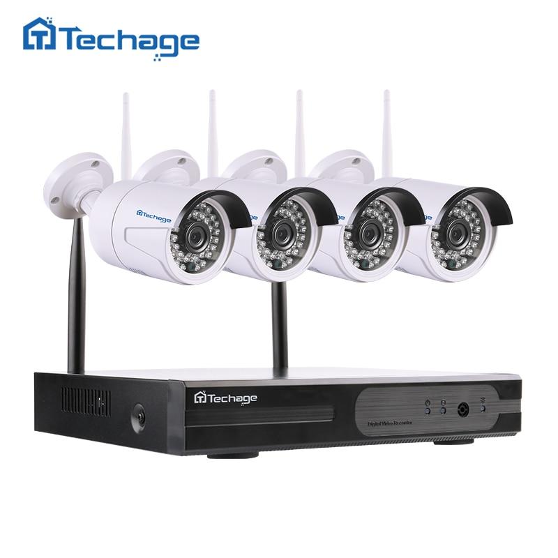 Techage 4CH 1080P Wireless NVR CCTV System wifi 2.0MP IR Outdoor Bullet P2P IP Camera Waterproof Video Security Surveillance Kit 5 8g 1 0 mp 1 4 color cmos 4ch 720p wifi 1 nvr with 4 pcs waterproof ir bullet wireless ip camera wireless cctv system kit