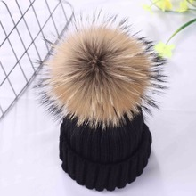 Fox fur Pompoms Hat Winter Hats For Women And Kids Knitted Thicker Girls Cap Lady Warm Caps Solid Fashion Wool Bonnet Femme все цены