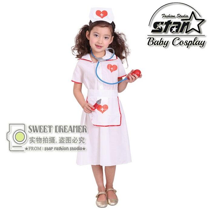 Nurse Costume Fantasia Children's Halloween Little Nurse Dress Kids Cosplay Career Role Play Uniforms Fancy Dress+Hat+Apron anime cosplay lace lolita flower print halloween fancy dress gallus japanese kimono costume