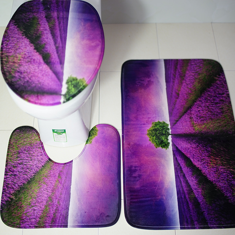 3pcs/set Purple Mat Lavender Bathroom Taips For Home Decation Toilet Rugs  High Quality Anti