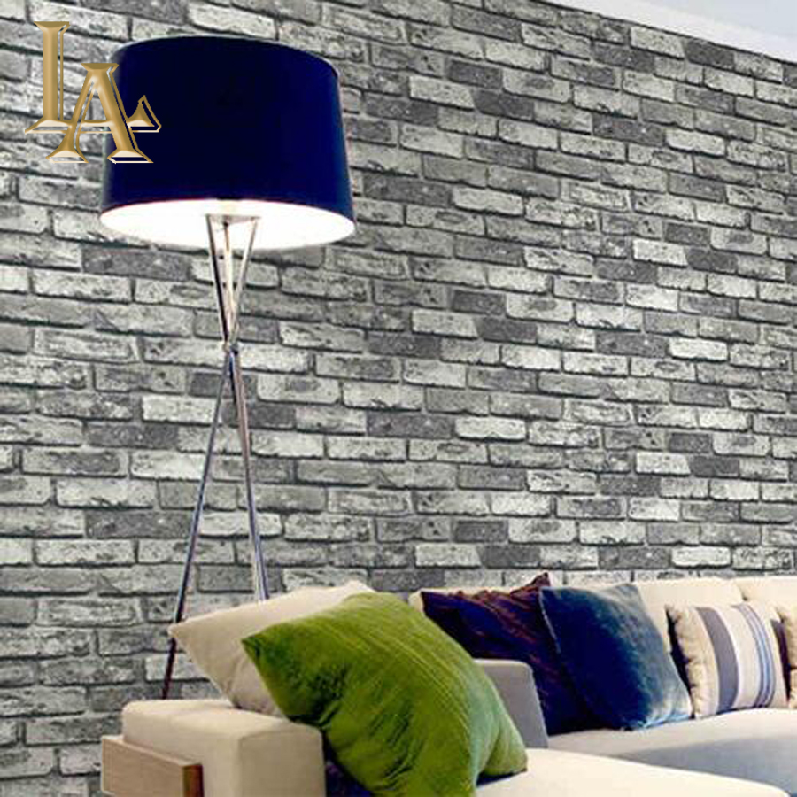 Pvc vinyl vintage shabby brick stone 3d wallpaper living for Wallpaper home improvement questions