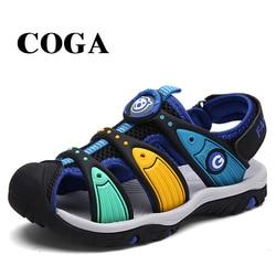 COGA fabric summer boy sandals toe wrap sandal kids shoes fashion sport sandals children sandals for boys 6-10 years old