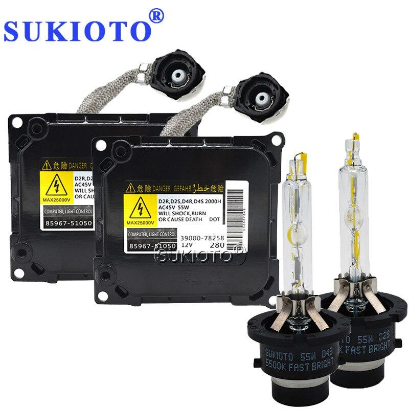 SUKIOTO Original Xenon kit D4S 55W 5500K Fast Bright 35W d4s xenon ballast Kit 85967-51050 d4s for toyota lexus headlights HID стоимость
