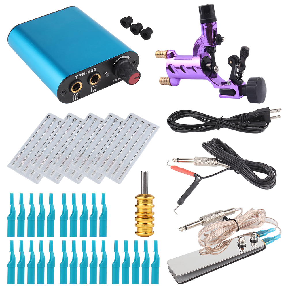 Tattoo Kit Purper Dragonfly Rotary Tattoo Machine Shader & Liner With Tattoo Needle and Disposable Tattoo Tips Power Supply ac dc adaper 110 220v digital lcd tattoo power supply dual setting liner shader with 4 machine memory modes and adjustable base
