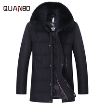 [Big fox fur collar] 2018 winter middle-aged mens casual down jacket Mens Festive daddy
