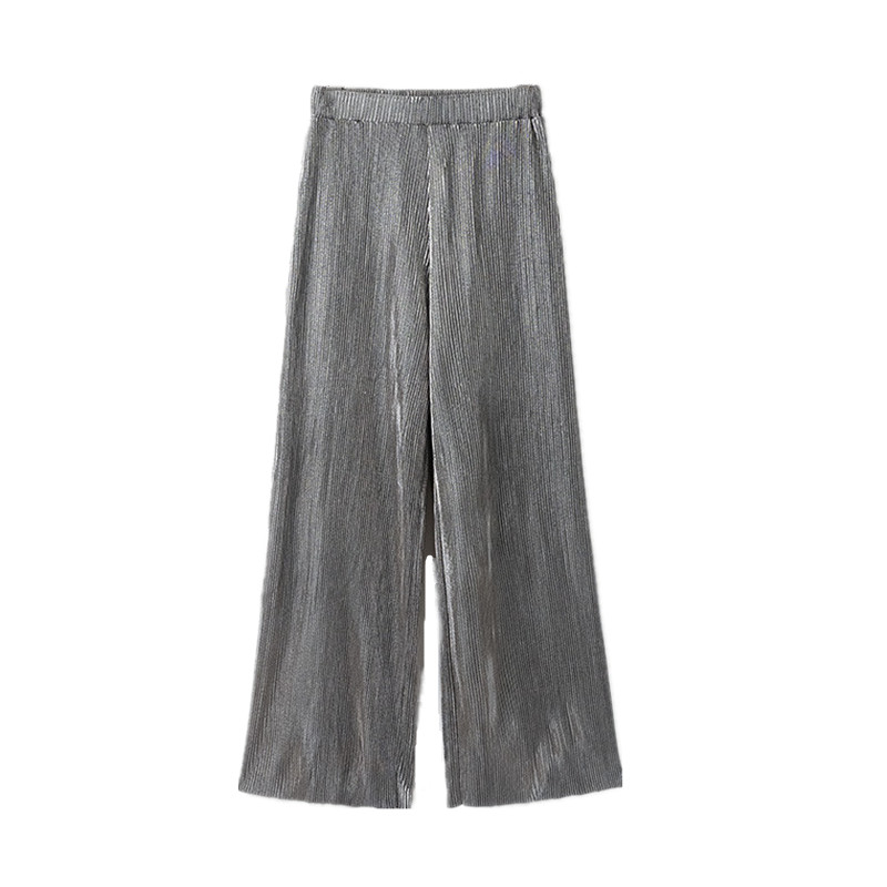 Women Shiny Pleated   Wide     Leg     Pant   Elastic Waist Loose Casual Ankle-Length   Pant   Trousers