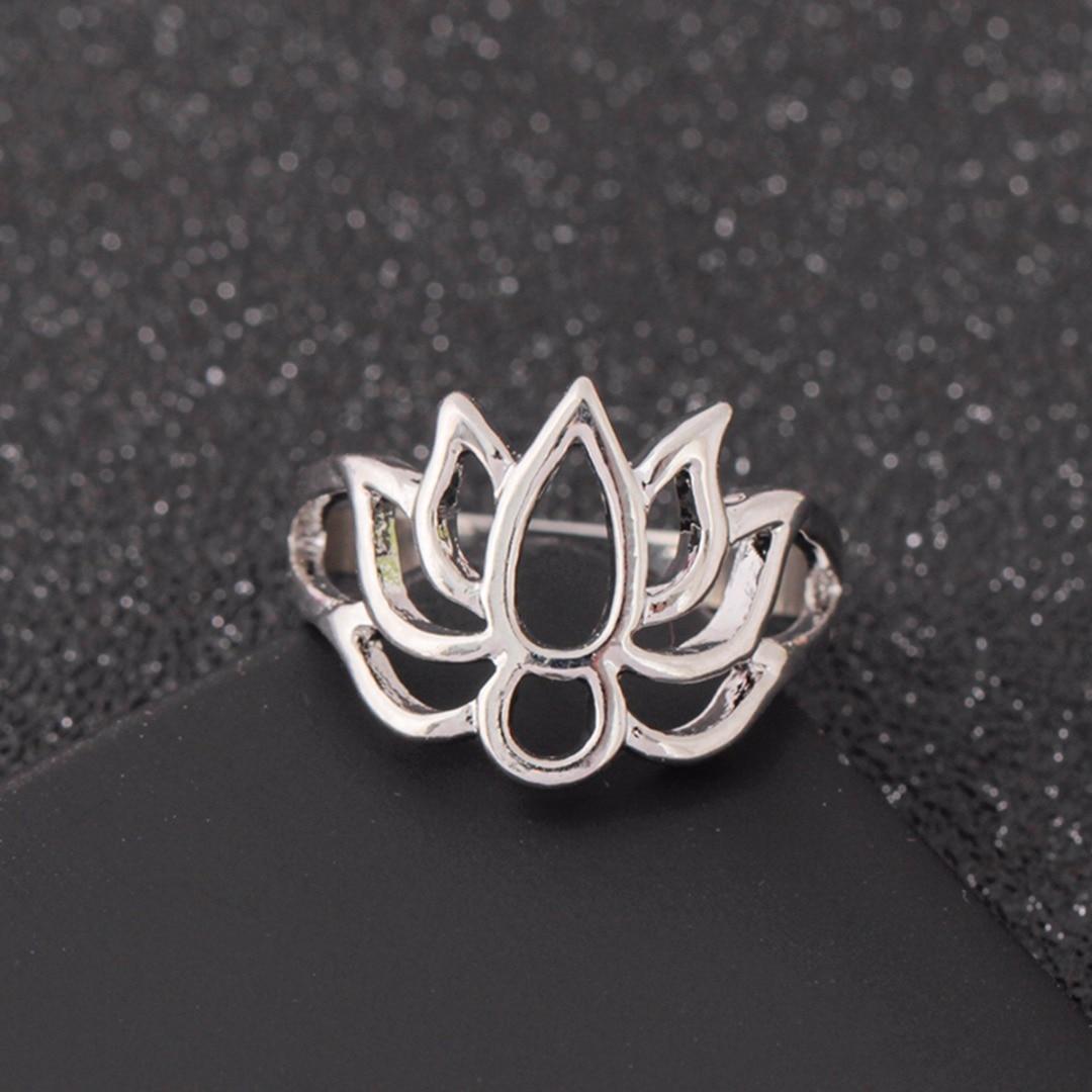 Vintage Silver Band Ring Shellhard Simple Lotus Flower Finger Rings