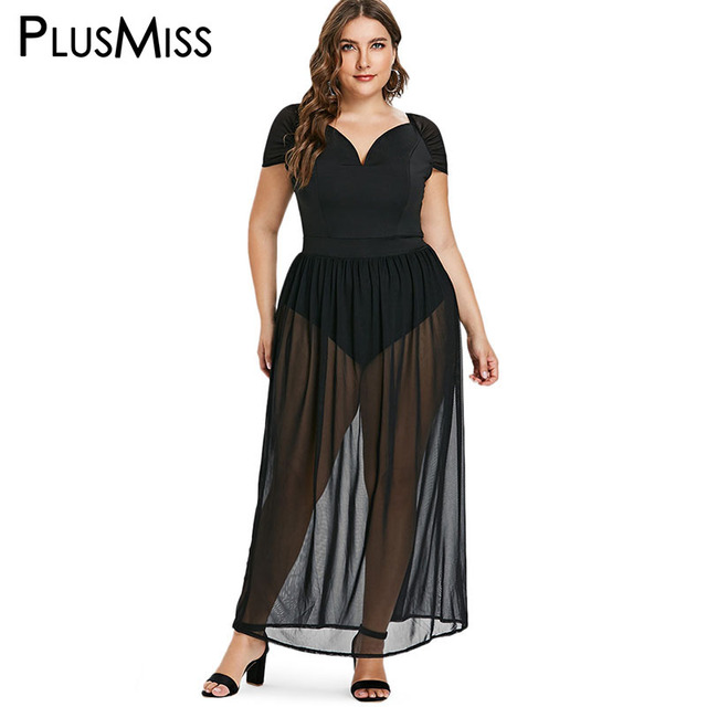 PlusMiss Plus Size Sexy See Through Mesh Party Dresses Women Big Size Black  Chiffon Lace Maxi 42b9d5bd4b4e