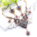 Vintage Women Flower Antique Gold Plated Jewelry Sets Turkish Resin Jewelry Drop Earrings Necklace Arabia Bridal Wedding Jewelry