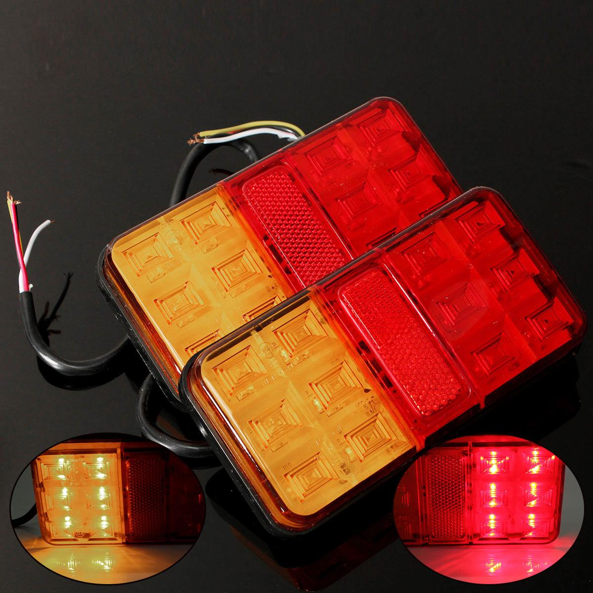 2x Trailer Truck Lorry Caravan LED Rear Tail Brake Stop Light Indicator Lamp 12V And Fittings tirol 13 to 7 pin adapter trailer 12v towbar towing caravan truck electrical converter n type plastic