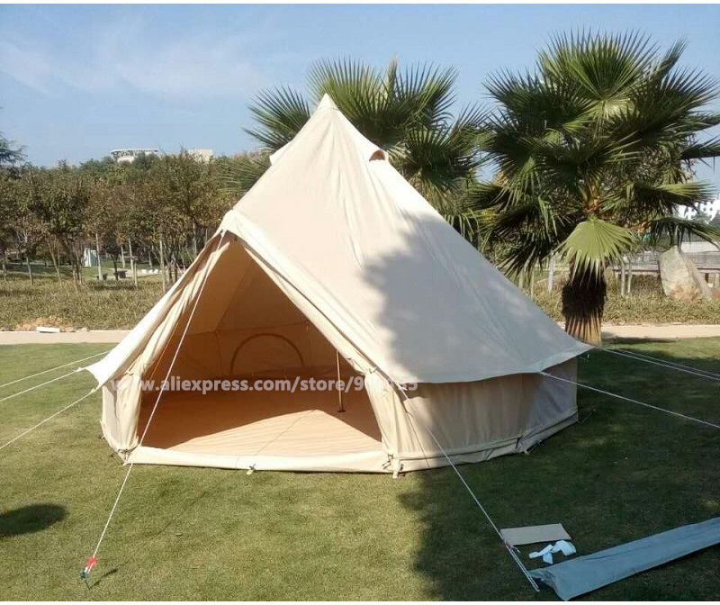 Diameter 3m Waterproof Cotton Canvas Bell Tent Outdoor Sibley Gl&ing Tent-in Tents from Sports u0026 Entertainment on Aliexpress.com | Alibaba Group & Diameter 3m Waterproof Cotton Canvas Bell Tent Outdoor Sibley ...