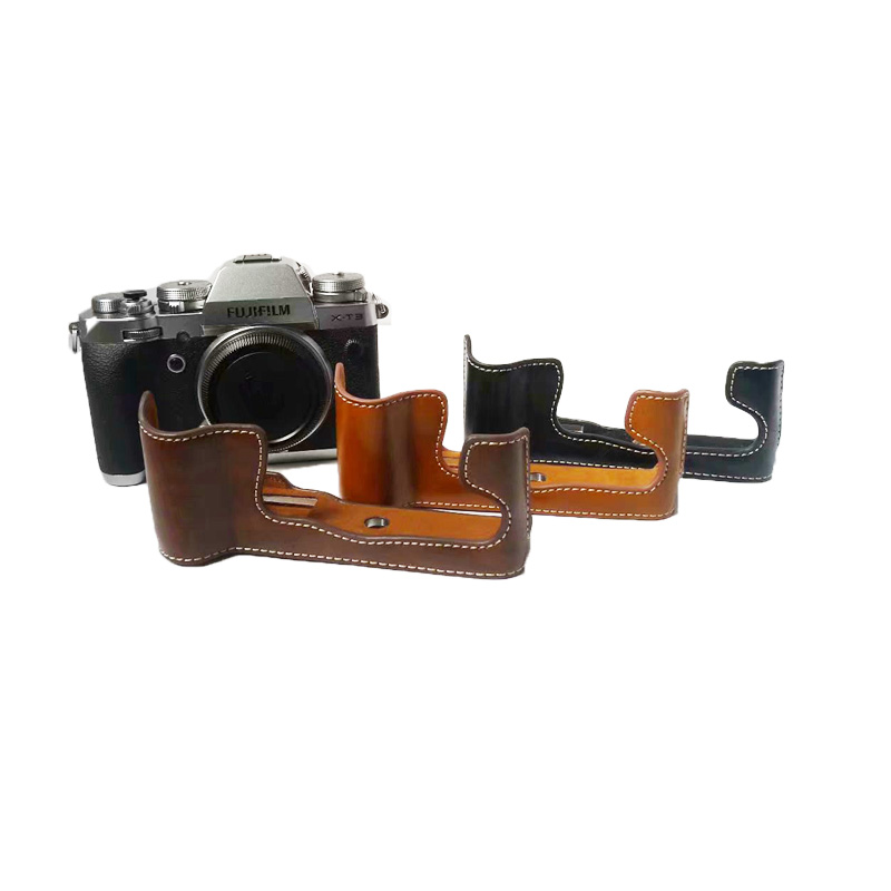 Professional PU Leather Camera <font><b>Case</b></font> Half Body Cover For <font><b>Fujifilm</b></font> XT3 FUJI <font><b>X</b></font>-<font><b>T3</b></font> Bottom Camera Bag image