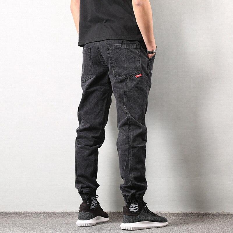 Style japonais mode hommes survêtement Jeans noir bleu couleur Streetwear Punk pantalon Hip Hop Jeans hommes Slim Fit Cargo pantalon Homme - 3