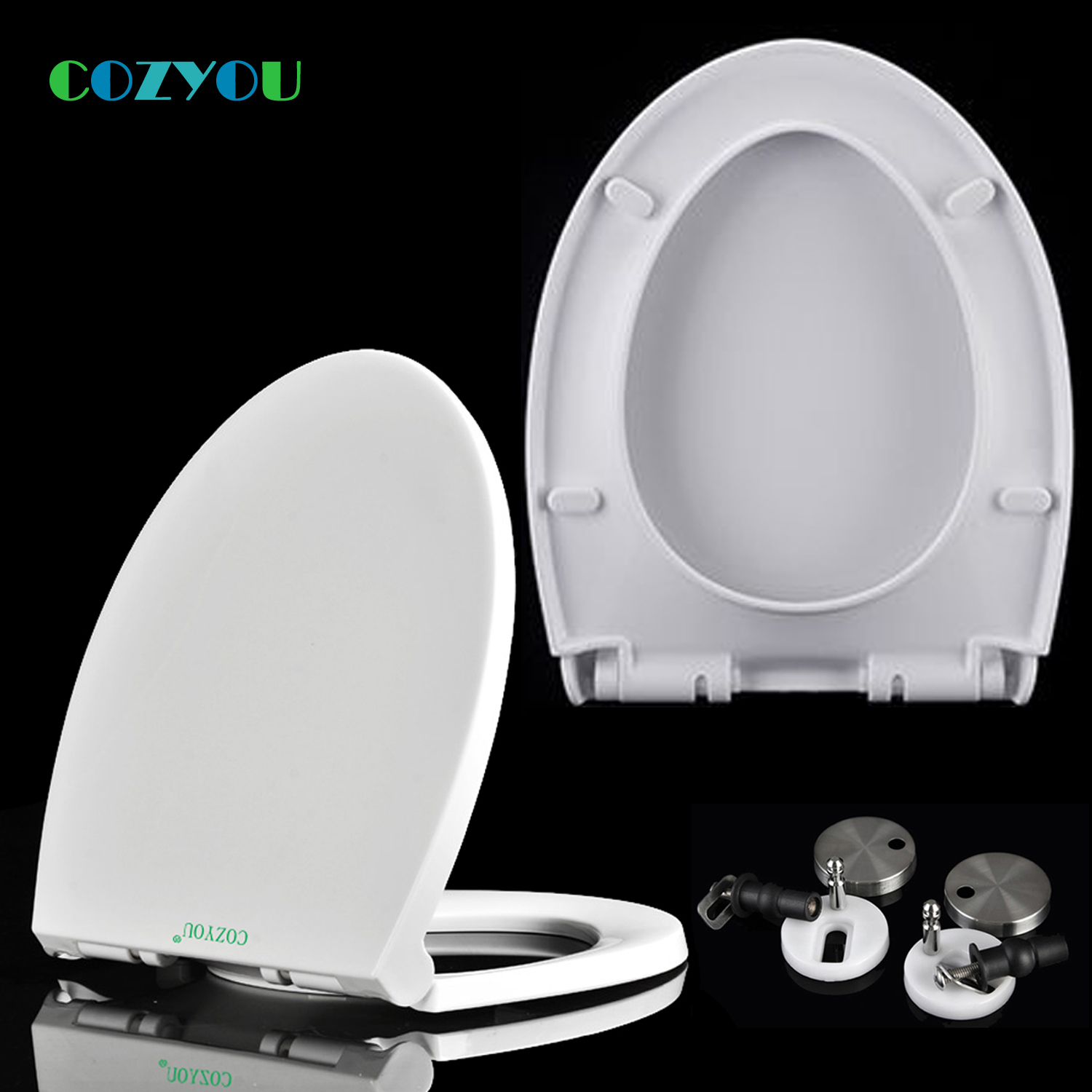 COZYOU Toilet seat V shape Slow Close PP toilet lid above installation Length 445mm - 500mm Width 355mm - 365mm GBP17271SV