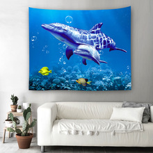 Retro Undersea World Turtle Tapestry Wall Hanging Mandala Painting Picnic Beach Mat Sofa Cover Bedding Sheet Home Decor