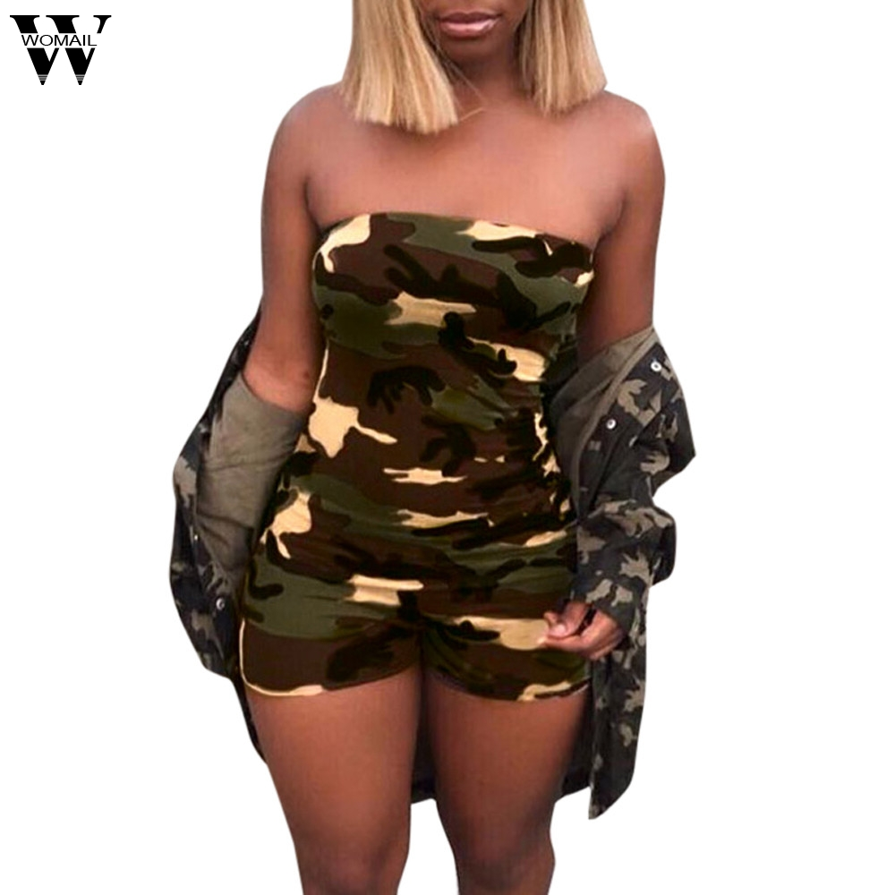 Womail bodysuit Women Summer Fashion Casual Playsuit Camouflage Boob TubeTop   Jumpsuits   Rompers Short Playsuit dropship M6