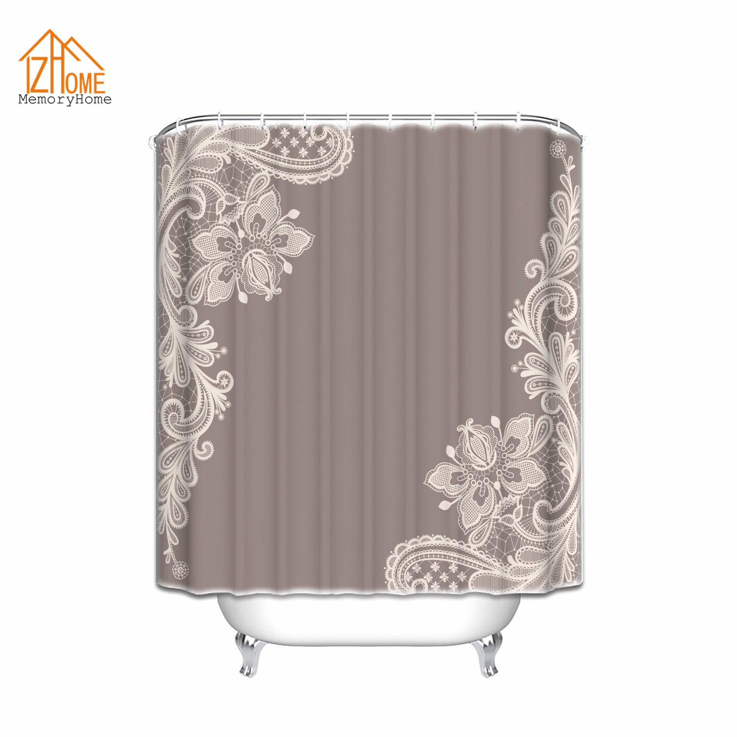 Vintage shower curtains - Memory Home Art Ornamental Lace Background Waterproof Polyester Doodle Fabric Shower Curtain Vintage Pattern Bathroom