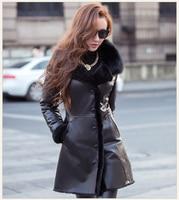 2019 winter fashion women's genuine sheepskin leather woolen cashmere liner long coat & jacket for female black plus size xxxl