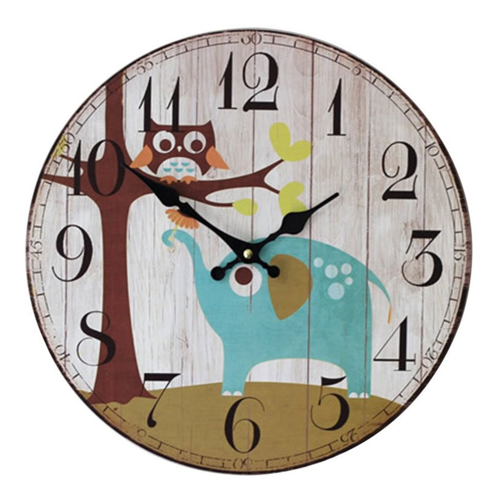 Outad cute elephant owl wall clock wall clock fashion - Watch the elephant in the living room ...