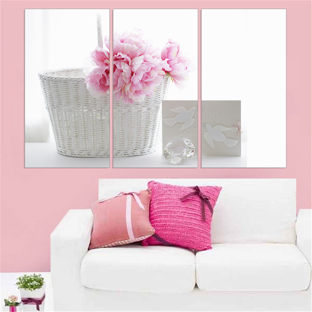 Home interiors and gifts paintings - Canvas Painting Pink Flower White Basket A4 Printed Hd Poster Wall Art Canvas Painting Home Decorating Gift 3 Panel