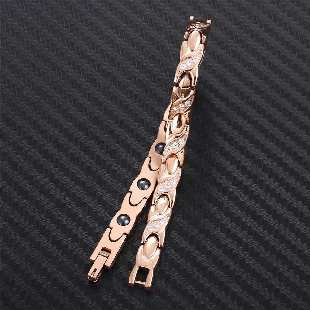 Pulsera de acero inoxidable NHGBFT Rosa nuevo Color dorado para hombre y mujer, pulsera médica de cristal negro con movimiento saludable