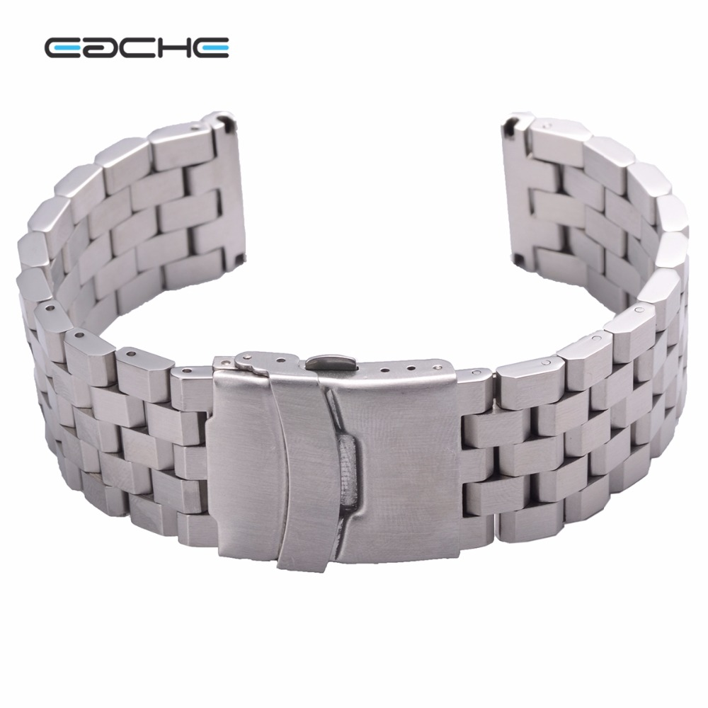 EACHE 1pcs Black Silver Stainless Steel Watch Band  Bracelet Butterfly Folded Buckle   22mm 24mm stainless steel u shaped adjustable 4 hole shackle buckle for paracord bracelet silver 6 pcs
