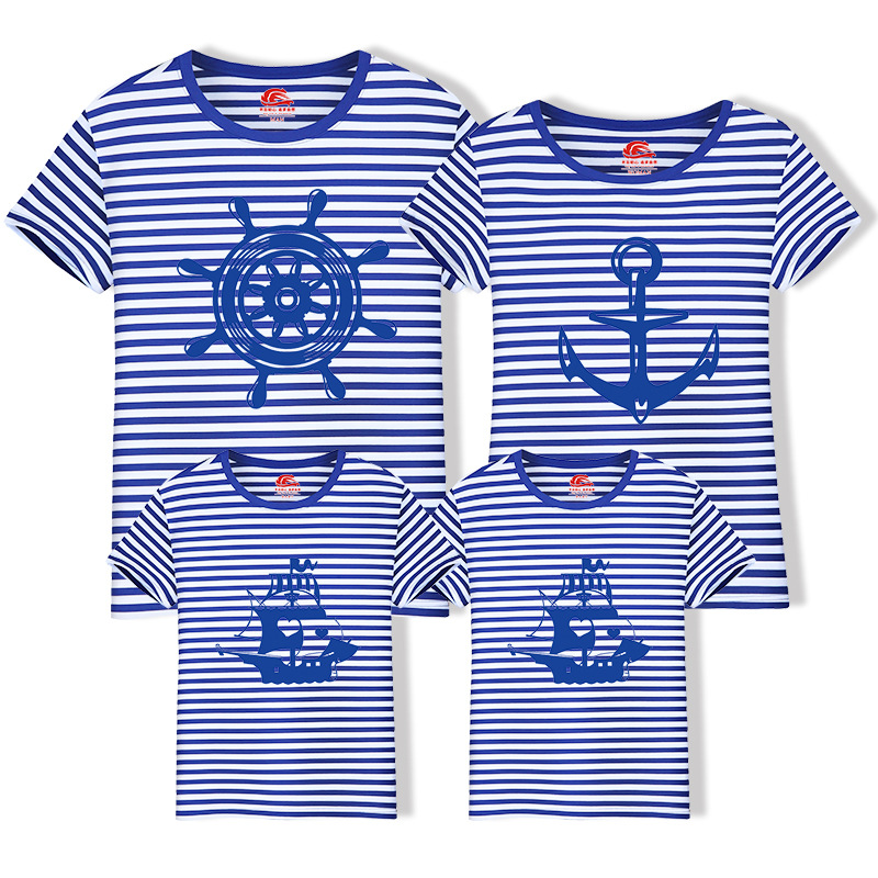 ChanJoyCC Family Matching Outfits T-shirt 2018New Short Sleeve Baby Boys Girls Mom Dad Fashion Anchor Kid Cotton Leisure Clothes 2017 hot sale family matching outfits t shirt mom dad boys and girls camouflage cotton100% short sleeve t shirt