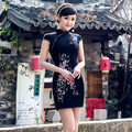 Chinese traditional embroidery cheongsam stretch banquet slim dress vintage Qipao dress sexy party chinese elements