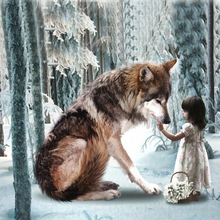 5D DIY Diamond Painting Needlework Wolf and Girl Pattern Round Diamond Embroidery Full Drill Mosaic Stickers Cross Stitch diamond painting 5d diy full drill round diamond two snow wolf pattern embroidery mosaic stickers cross stitch decorative