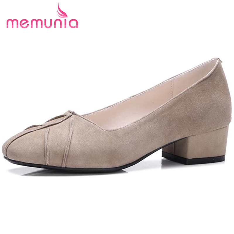 ФОТО MEMUNIA Med heels party shoes shallow round toe contracted women pumps genuine leather shoes single two colors solid four season