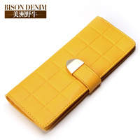In 2014 The New Korean Bison Square Lady Long Wallet Leather Purse Multi Card Card Package
