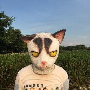 Image 5 - 재미 있은 성난 고양이 할로윈 코스프레 동물 마스크 전체 얼굴 마스크 라텍스 공포 가장 무도회 파티 고양이 의상 성인 마스크
