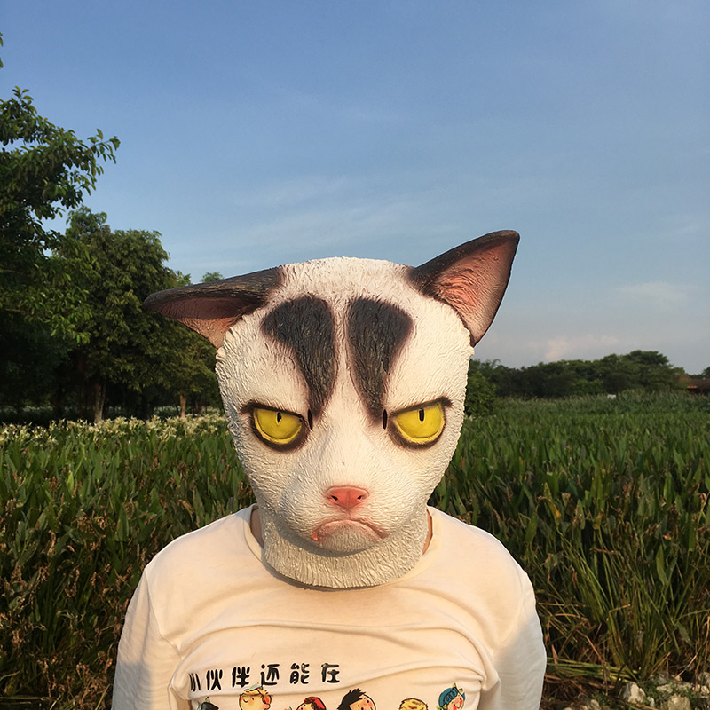 Image 5 - Funny Angry Cat Halloween Cosplay Animal Masks Full Face Mask Latex Horror Masquerade Party Cat Costume Adult MaskBoys Costume Accessories   -