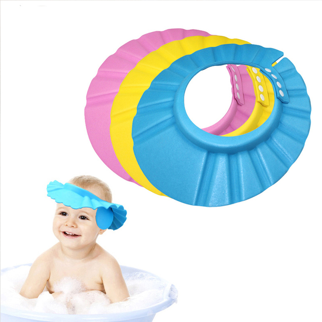 93082d2d2 US $2.88 24% OFF Adjustable Baby Shower Caps Shampoo Cap Wash Hair Kids  Bath Visor HatsShield Waterproof Ear Protection Eye Children-in Shower Caps  ...