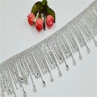Crystal Silver Rhinestone Appliques Fringe Trimming bridal for wedding dress belt DIY sew on 1 yard