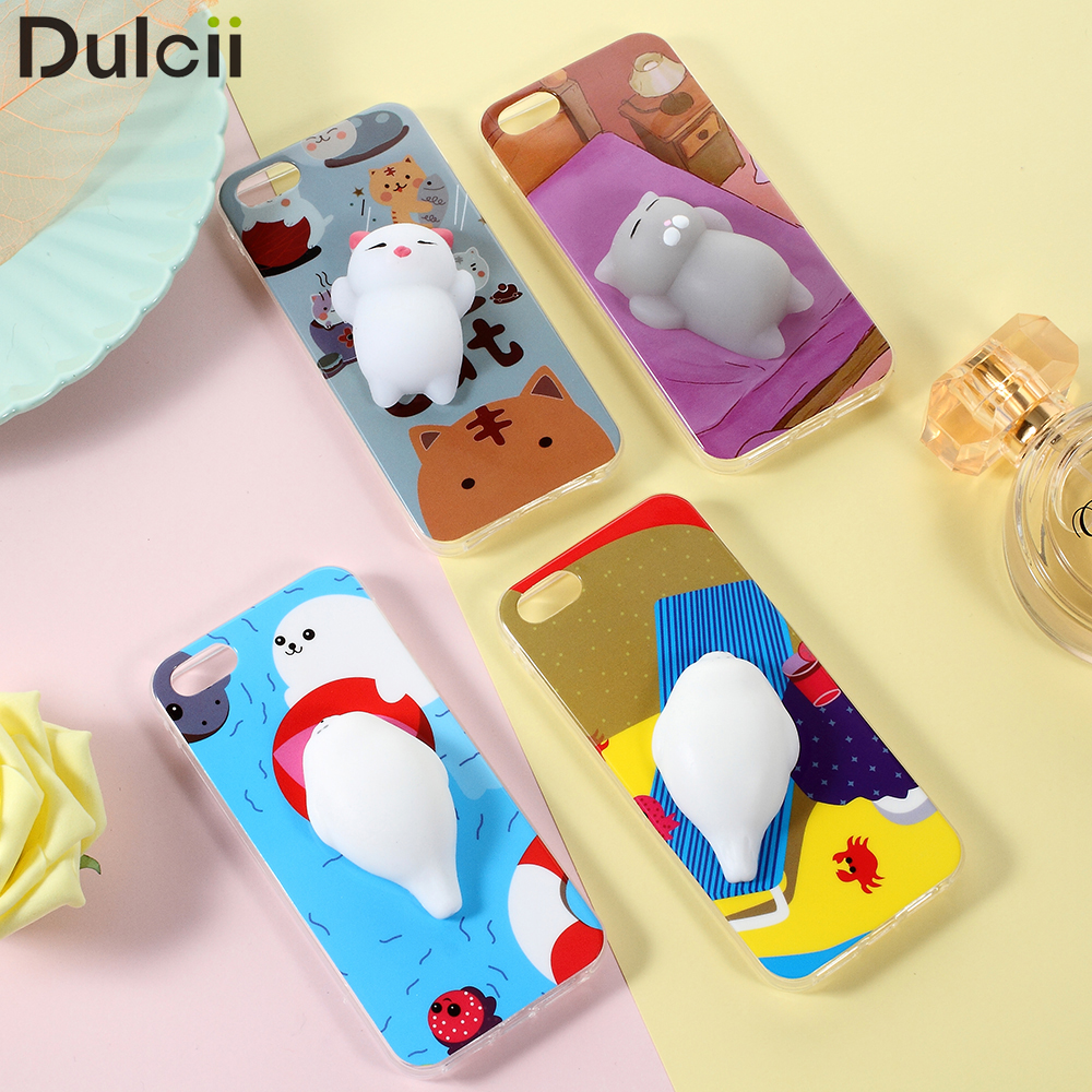 ?(^ ^)?coque funda capa for iPhone ? SE SE Squishy Cases 3D ? Silicone Silicone Kneading Cat TPU ...