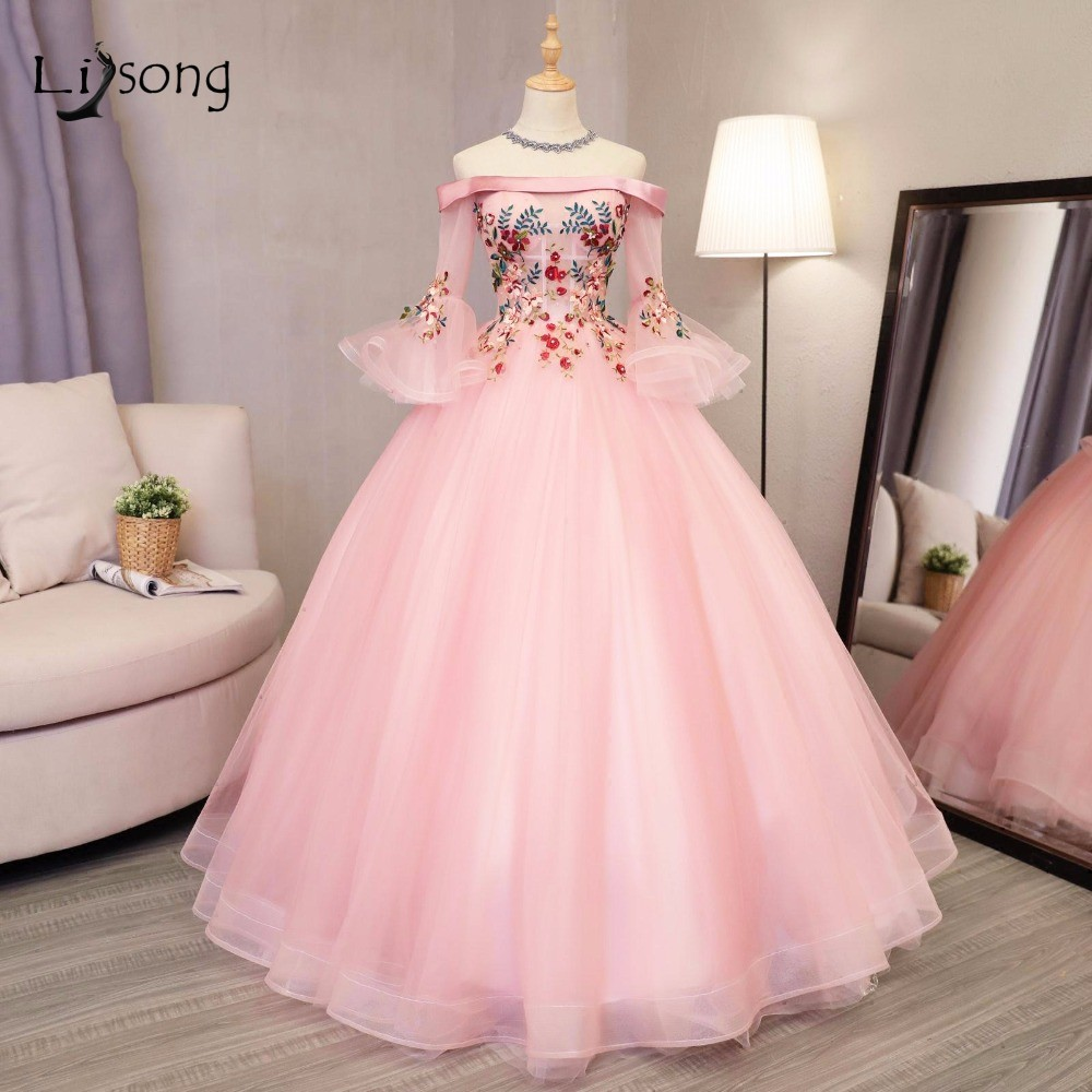 Aliexpresscom  Buy Pink Embroidery Evening Ball Gowns -8593