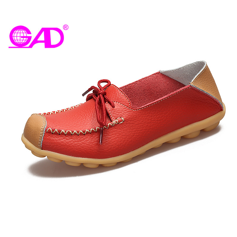 GAD Women Leather Loafers Sweet Butterfly-knot Slip-on Ladies Lazy Shoes Fashion Shallow Mouth Flat Shoes Women Large Size 35-42 siketu sweet bowknot flat shoes soft bottom casual shallow mouth purple pink suede flats slip on loafers for women size 35 40