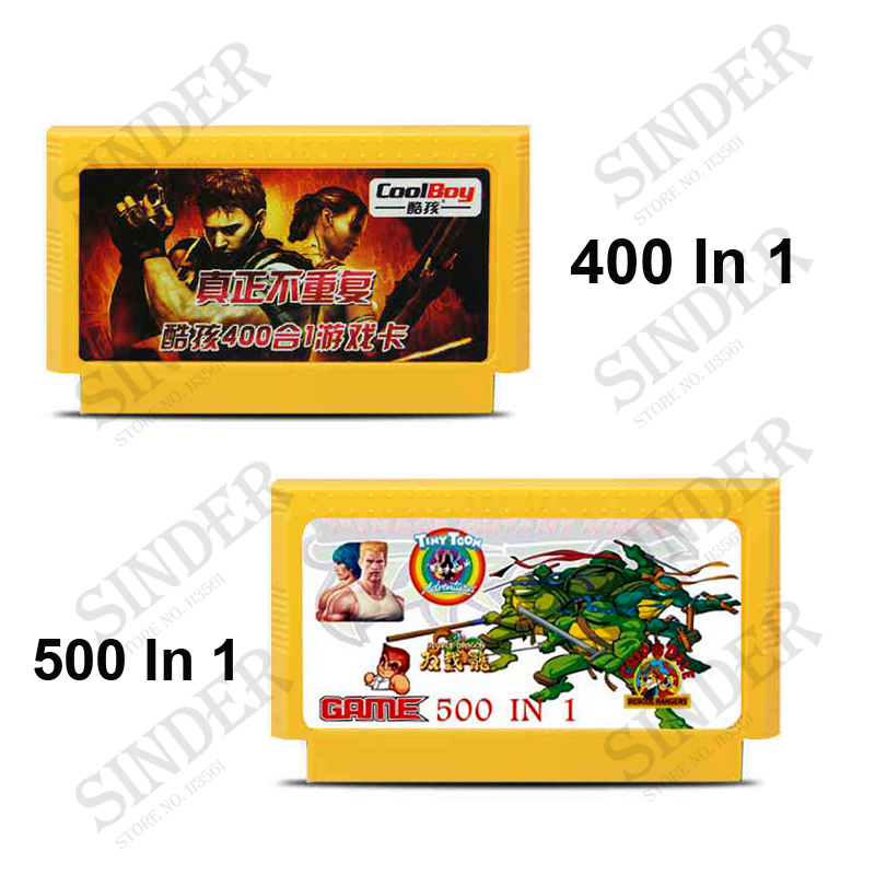2 Pcs / Lot (400 in 1 Cartridge Game No Ulangi + 500 in 1 Game Card) 8 Bit 60 Pin Kartu Game