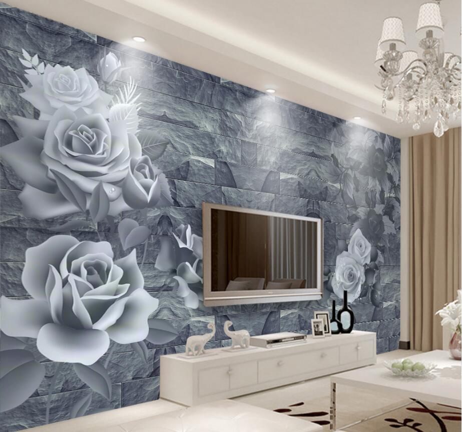 beibehang Custom Wallpaper Home Decorative Background Fresco Romantic Rose 3D Brick Wall TV Background Wall mural 3d wallpaper