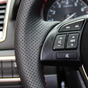 Image 4 - Brillante Grano Cucito a Mano Nero Artificiale Volante in Pelle Copertura Della Ruota di Copertura per Mazda CX 5 CX5 Atenza 2014 Nuova Mazda 3 CX 3 2016